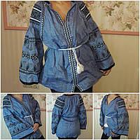 Льняная вышитая блуза для женщин, авторская работа, 48-52 р-ры, 2300 гр.