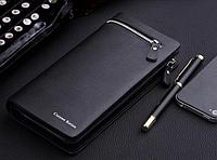 Кожаный мужской клатч портмоне Curewe Kerien черный, фото 1