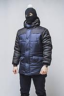 Зимняя мужская парка цвет черный с синим бренд ТУР модель Bizon M