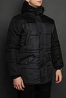 Зимняя мужская парка цвет черный с синим бренд ТУР модель Bizon