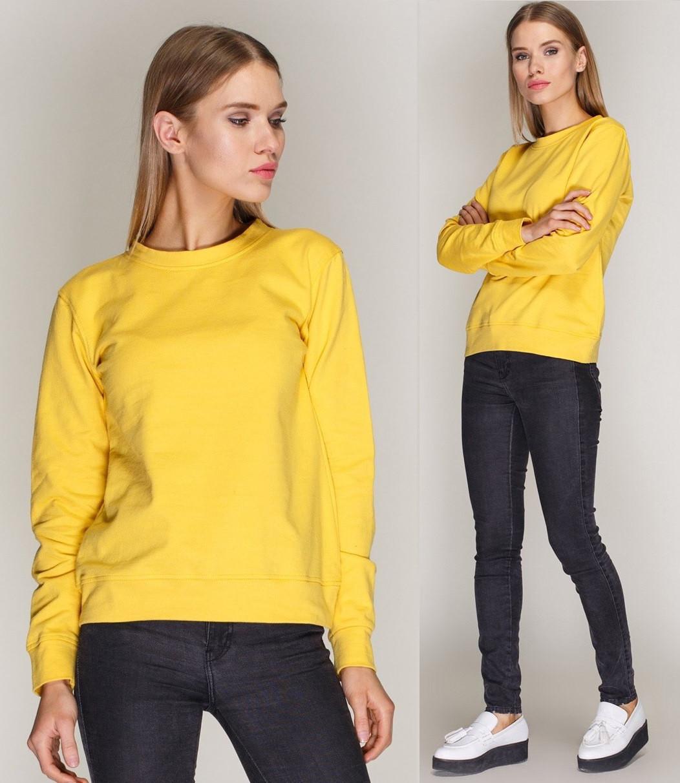 Свитшот демисезонный женский свободный однотонный трикотажный желтый
