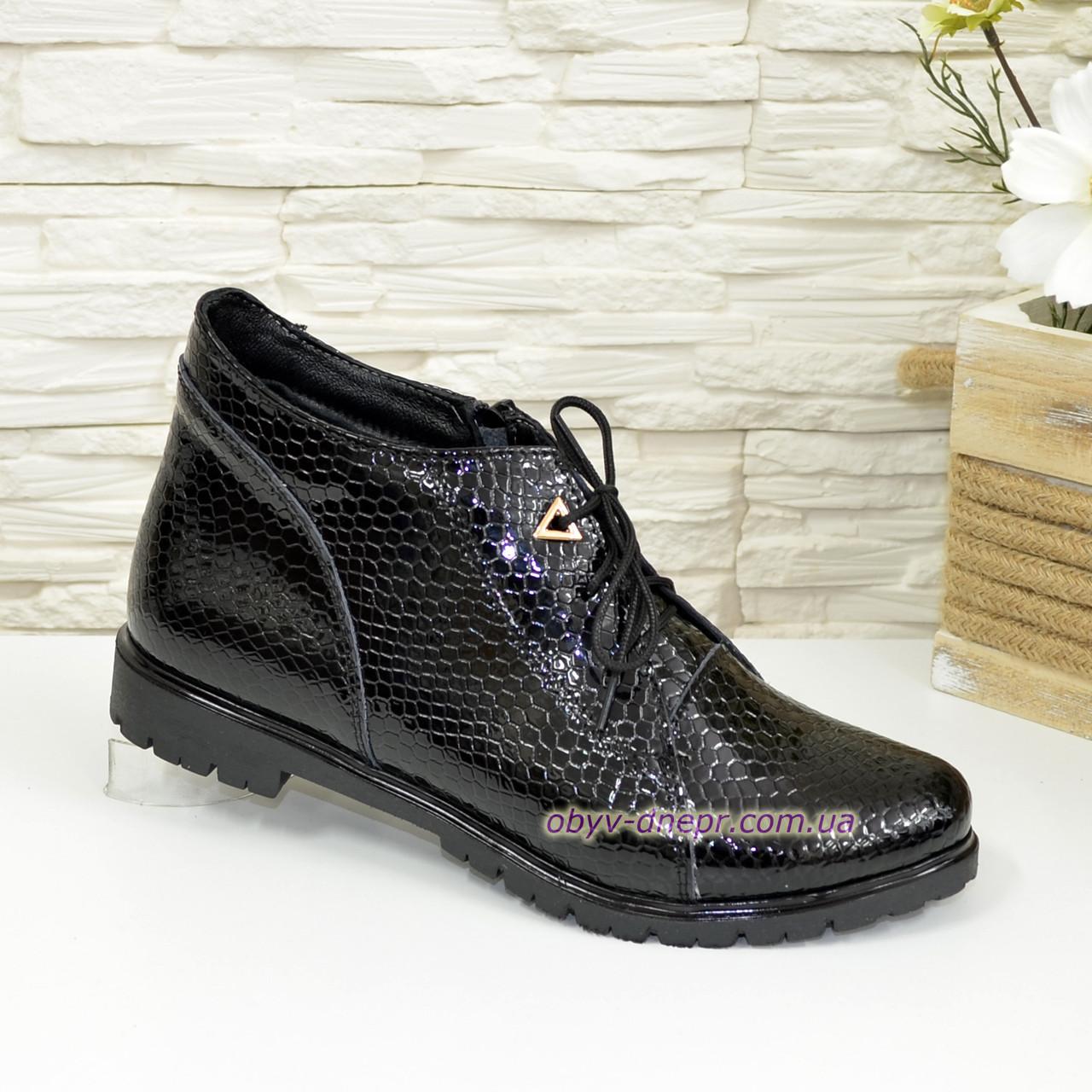 """Жіночі черевики на шнурівці, натуральна шкіра """"пітон"""""""