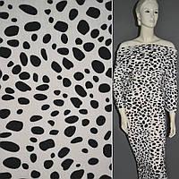 Трикотаж белый с черным далматинец,  трикотажная ткань шерстяная шерсть акрил, акриловый.