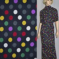 Трикотаж трикотажная ткань трикотажное полотно темно синий с цветными кругами ш.170