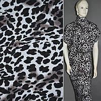 Трикотаж молочный с черным леопард,  трикотажная ткань шерстяная шерсть акрил, акриловый.