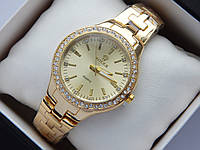 Женские наручные часы Rolex золото, стразы вокруг циферблата, фото 1