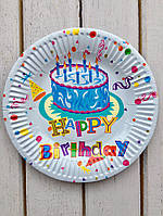"""Одноразовые тарелки 10 шт """" Happy Birthday"""" голубые с тортом 18 см Bambi"""