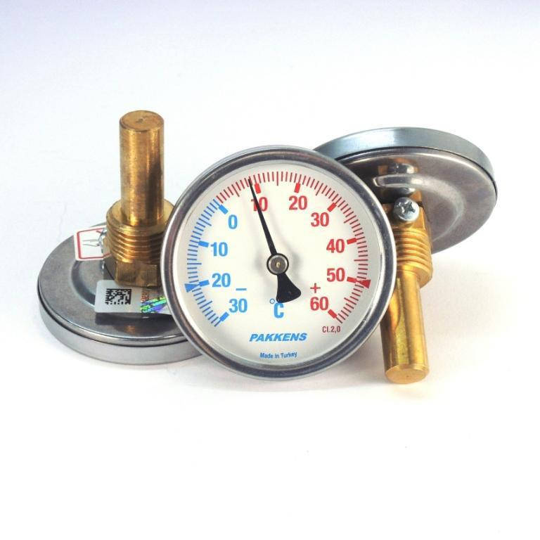Термометр -30 +60°С с погружной гильзой 5 см Ø63, Pakkens Турция