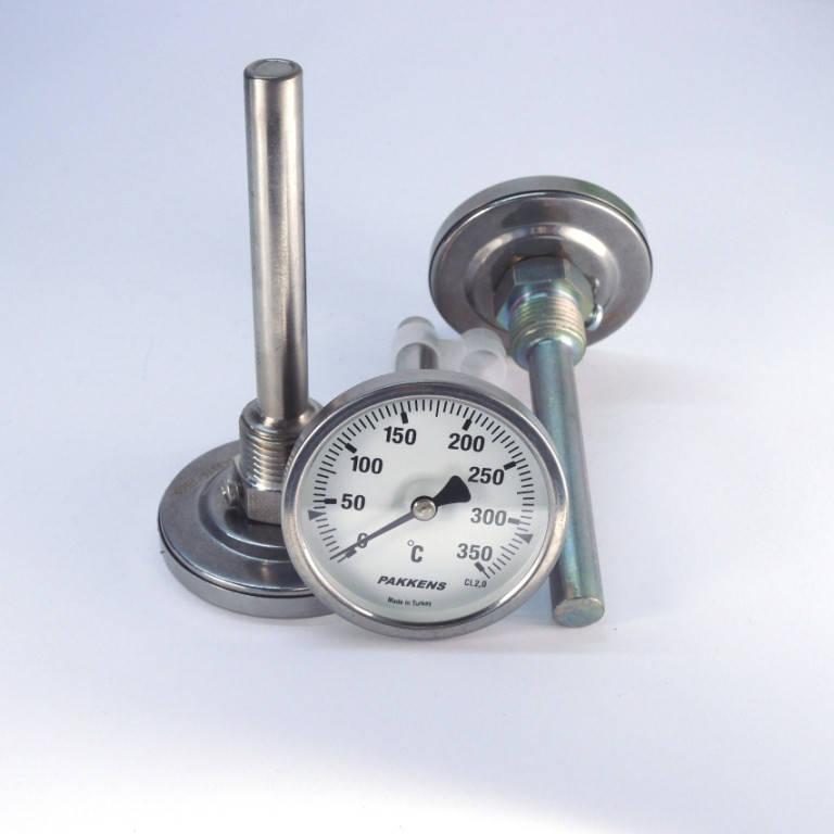 Термометр 0 350°С с погружной гильзой 10 см Ø63, Pakkens Турция