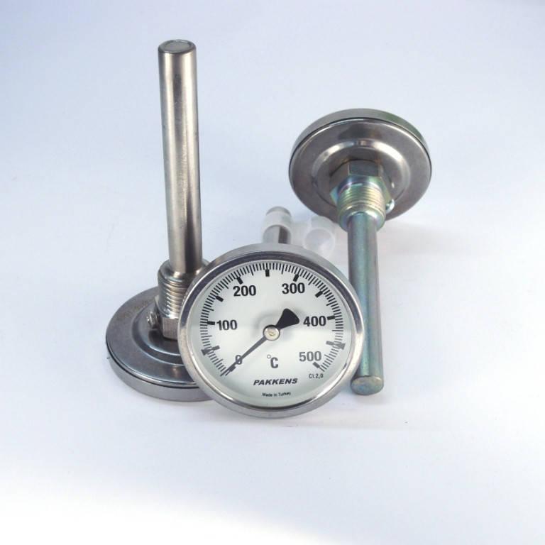 Термометр 0 500°С с погружной гильзой 10 см Ø63, Pakkens Турция
