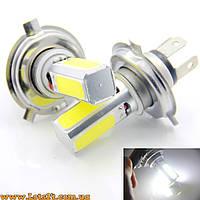 Авто-лампы H4 4 COB LED 6000K (светодиодные, лучше за галогеновые и ксеноновые DRL и ДХО)