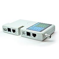 Тестер кабельный NT-T040, Battery 9V, для тестирования витой пары, телефонного кабеля, USB, BNC