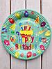 """Одноразовые тарелки 10 шт """"Happy Birthday"""" бирюзовые 23 см"""