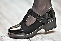 Туфли женские весенние с ремешком на тракторной подошве черные искусственная замша кожа лак (Код: М1060)