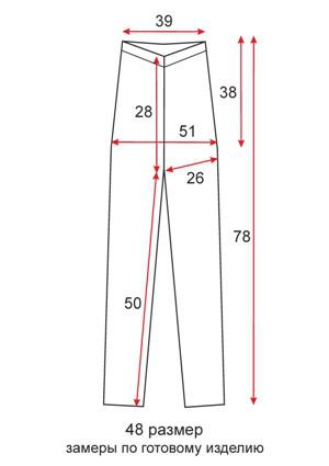 Тонкие лосины лето короткие - 48 размер - чертеж