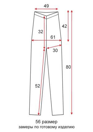 Лосины ниже колена короткие - 56 размер - чертеж
