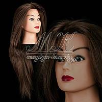 Учебная голова - манекен для причесок, обучения парикмахера 100% натуральных волос, коричневый