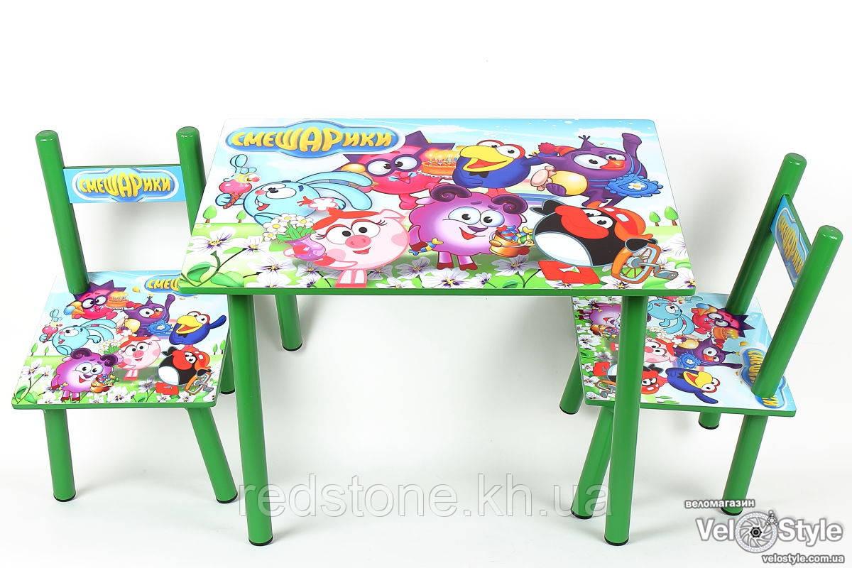 """Набір дитячої дерев'яної меблів Столик + 2 стільчика """"Смішарики"""" BAMBI"""