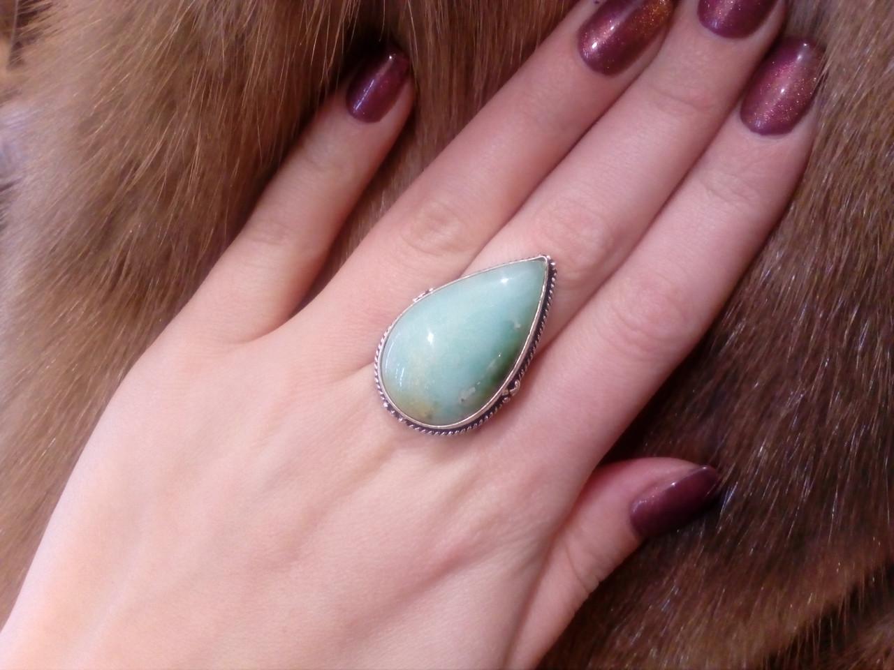 Кольцо природный хризопраз в серебре. Кольцо с яблочным хризопразом 17 размер Индия!