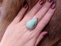 Кольцо природный хризопраз в серебре. Кольцо с яблочным хризопразом 17 размер Индия!, фото 1
