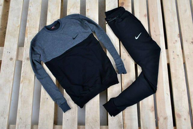 Только размер L !!! Мужской спортивный костюм В стиле Nike/ Костюм черный антрацыт плечи мал лого, фото 2