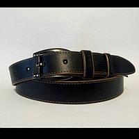 Женский кожаный ремень 35 мм чёрный коричневые края