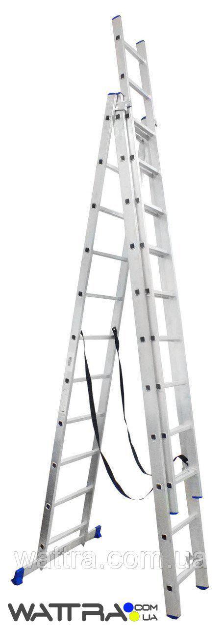 ⭐ Лестница LZ3211В / LLA311 WERK универсальная, алюминиевая 3х11 ступеней, длина 6,8 / 3,1 м., Вес 16,2кг