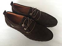 Мужские замшевые мокасины коричневого цвета А 1