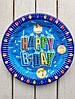 """Одноразовые тарелки 10 шт """"Happy Birthday"""" голубые  23 см Bambi"""