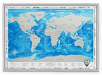 Скретч-карта мира в рамке Silver на украинском
