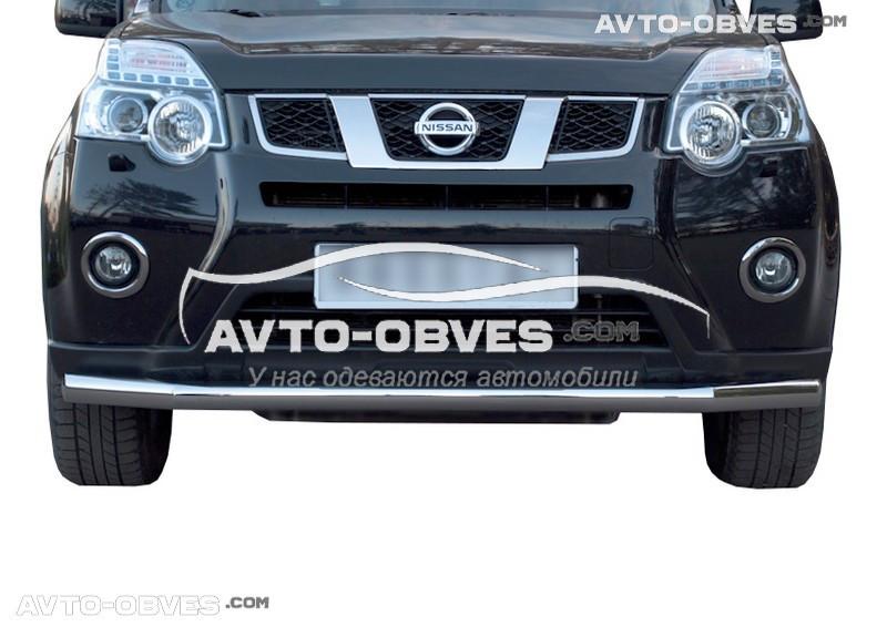Одинарный ус для защиты бампера Nissan X-Trail T31 (п.к. V001)
