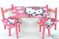 """Набор детской деревянной мебели Столик + 2 стульчика """"Hello Kitty"""""""