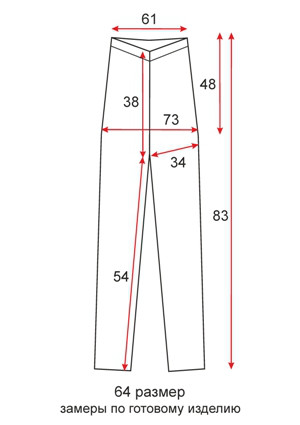 Лосины ниже колена короткие - 64 размер - чертеж