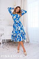 Женское весеннее платье с рюшей, в расцветках