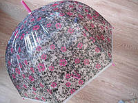 Зонт зонтик трость, полуавтомат в цветочек