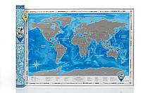 Скретч-карта мира Silver в тубусе с авоськой на украинском