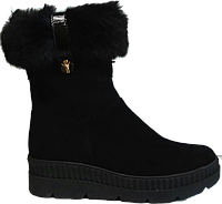 Индивидуальный пошив.Женские демисезонные ботинки из натуральной замши с меховым отворотом на молнии