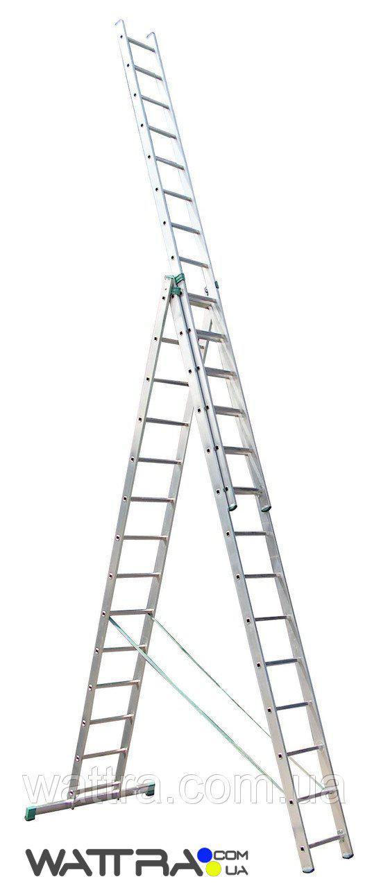 ⭐ Лестница 7614 iTOSS универсальная, алюминиевая из трех частей, 3х14 ступеней, длина 10,34 / 4,12 м