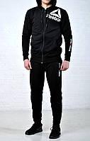 Мужской спортивный костюм Reebok CrossFit c капюшоном черного цвета