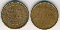Монета 2 евроцента Испания 2009г.