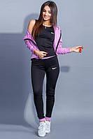 Эластичный костюм для фитнеса тройка лиловый с черным, фото 1