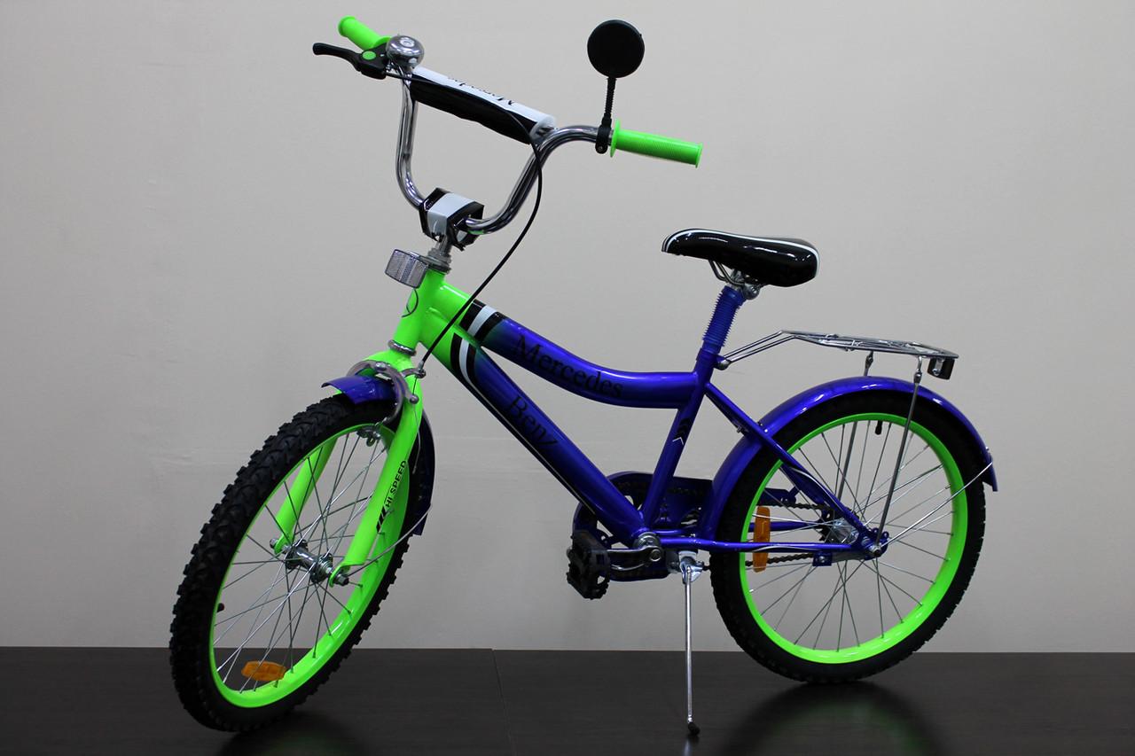 """Велосипед двухколесный 20 дюймов """"Mercedes-Benz"""" со звонком, зеркалом, ручным тормозом"""
