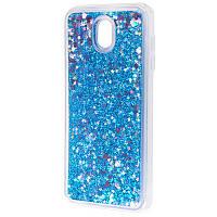 Чехол для Samsung Galaxy J7 2017 (J730) блестки вода синий