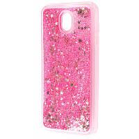 Чехол для Samsung Galaxy J7 2017 (J730) блестки вода розовый
