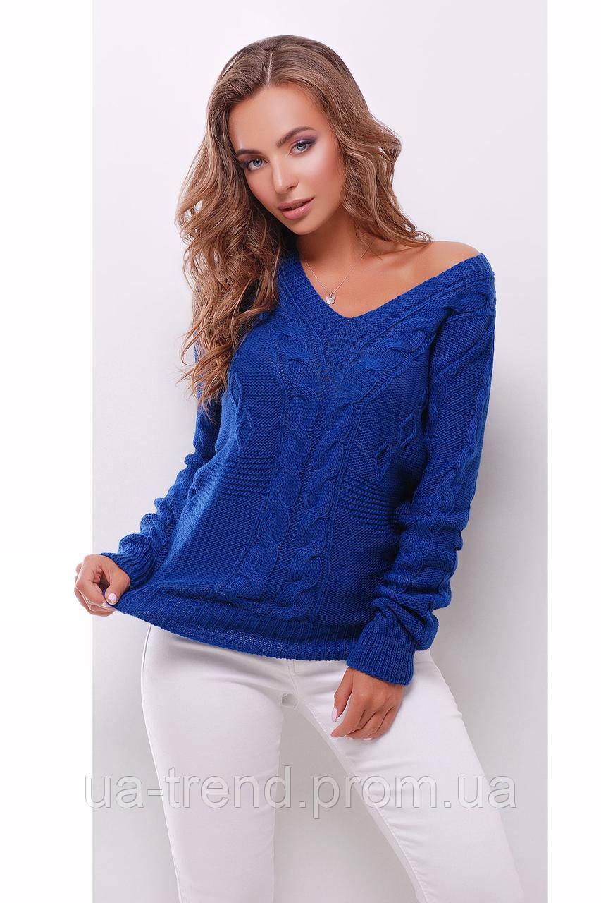 Вязаный джемпер синего цвета с косами
