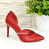 Стильные женские туфли на шпильке, натуральная красная кожа, фото 5