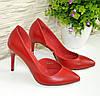 Стильные женские туфли на шпильке, натуральная красная кожа, фото 8