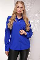 Женская батальная блуза ярко-синего цвета из тонкой, легкой и приятной на ощупь блузочной ткани - супер софт.