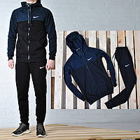 Мужской спортивный костюм Nike с капюшоном черного цвета, синие плечи