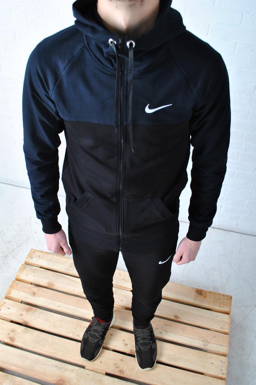 2270ff5fe27f Мужской Спортивный Костюм Nike с Капюшоном Черного Цвета, Синие Плечи — в  Категории